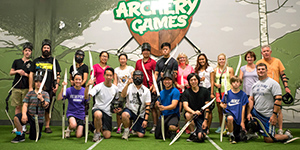 Team photo after an archery tag game at archery games calgary